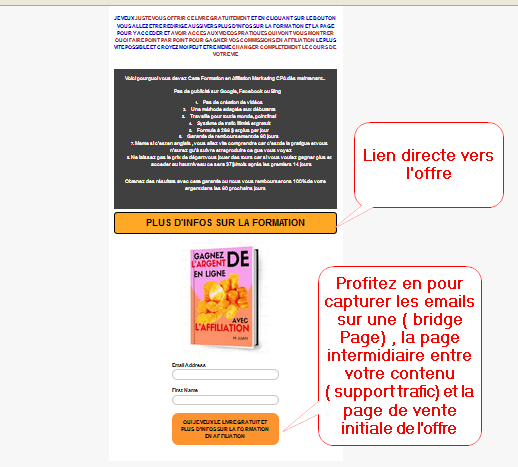 exemple de bridge page pour vendre en affiliation